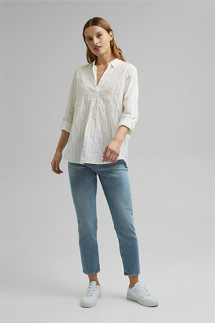 Turn-up sleeve blouse made of 100% organic cotton, OFF WHITE, detail image number 1