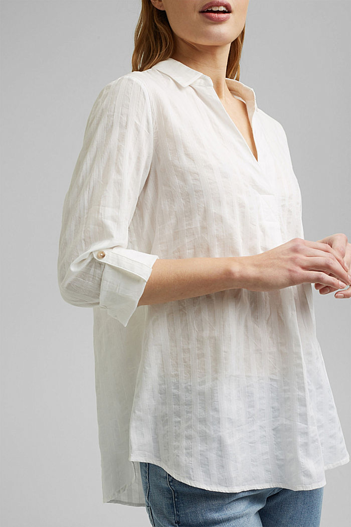 Turn-up sleeve blouse made of 100% organic cotton, OFF WHITE, detail image number 2