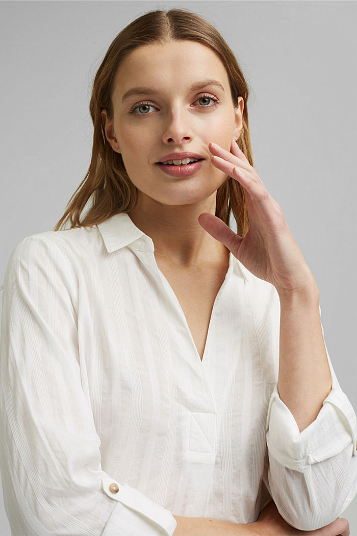 Turn-up sleeve blouse made of 100% organic cotton, OFF WHITE, detail image number 5