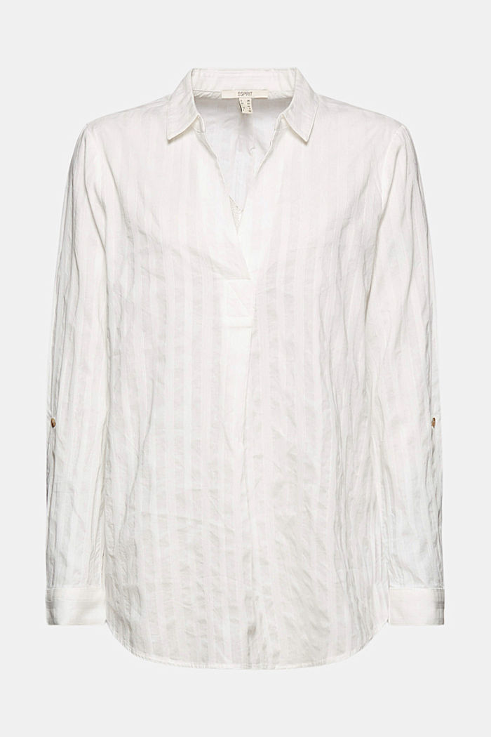 Turn-up sleeve blouse made of 100% organic cotton, OFF WHITE, detail image number 6