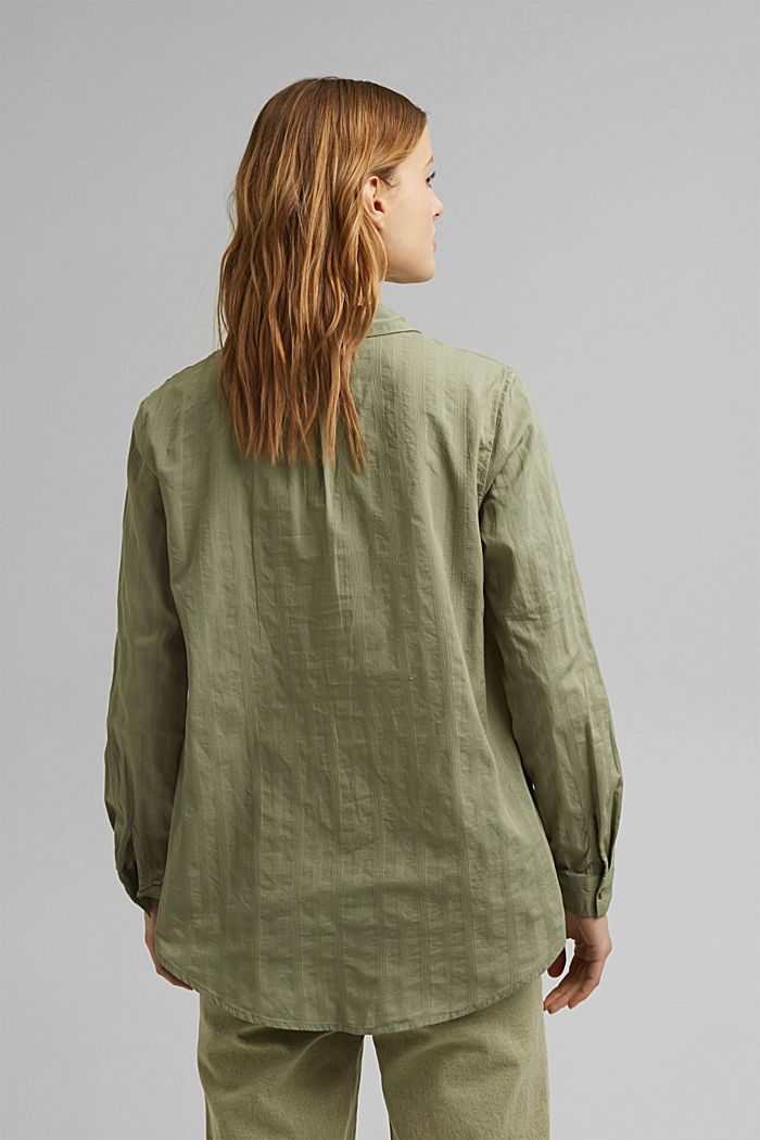 Turn-up sleeve blouse made of 100% organic cotton, LIGHT KHAKI, detail image number 3