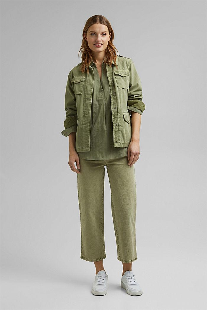 Turn-up-Bluse aus 100% Bio-Baumwolle, LIGHT KHAKI, detail image number 1