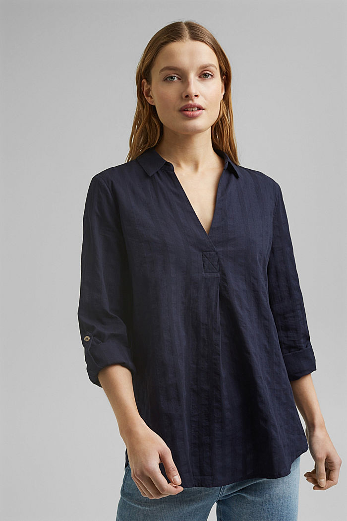 Turn-up sleeve blouse made of 100% organic cotton, NAVY, detail image number 0