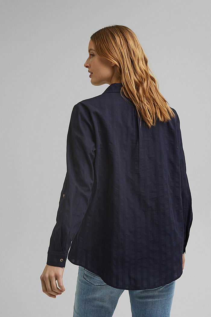 Turn-up sleeve blouse made of 100% organic cotton, NAVY, detail image number 3