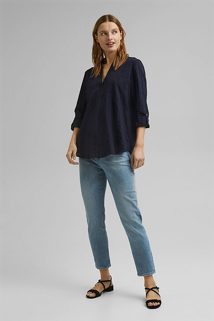 Turn-up sleeve blouse made of 100% organic cotton, NAVY, detail image number 1