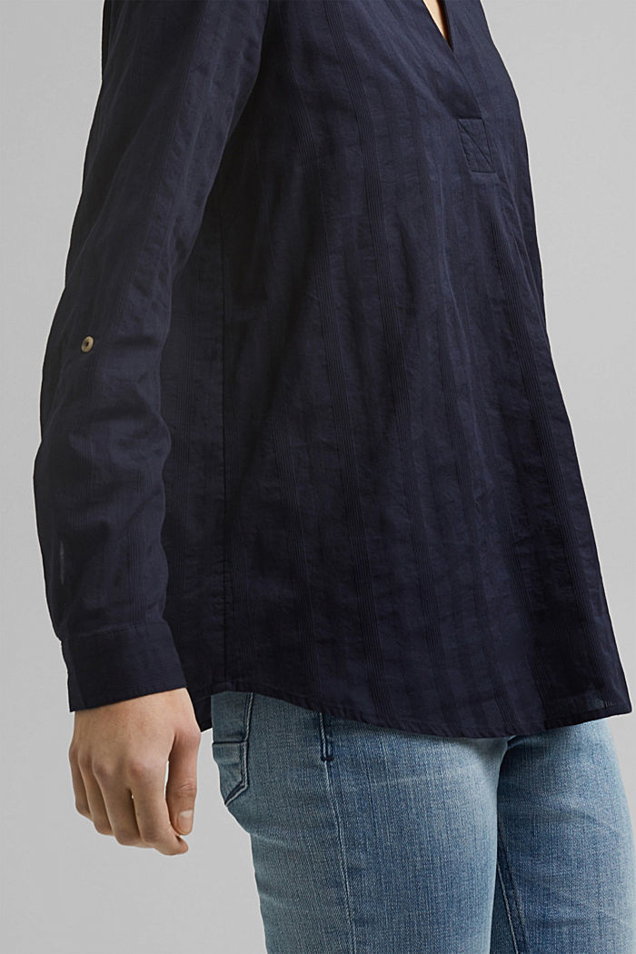 Turn-up sleeve blouse made of 100% organic cotton, NAVY, detail image number 2