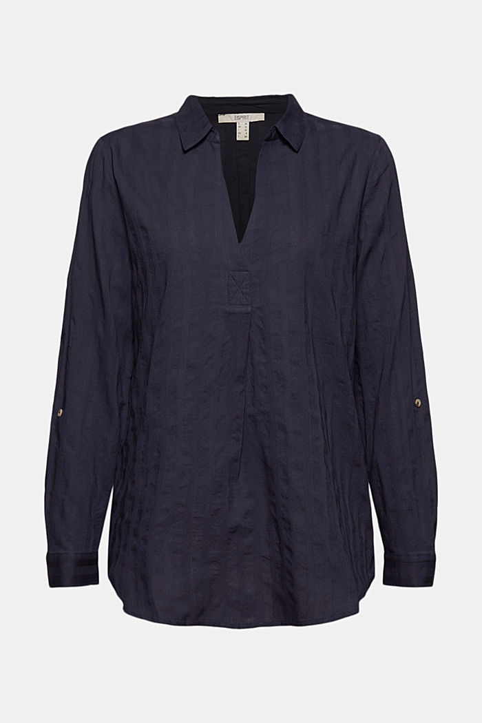 Turn-up sleeve blouse made of 100% organic cotton, NAVY, detail image number 5