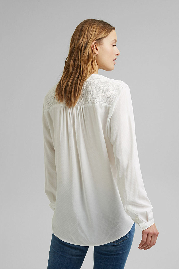 Dainty smocked blouse made of LENZING™ ECOVERO™, OFF WHITE, detail image number 3