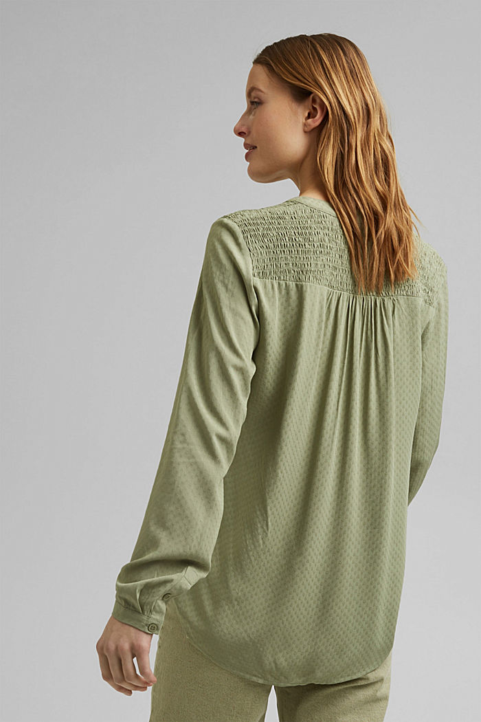 Dainty smocked blouse made of LENZING™ ECOVERO™, LIGHT KHAKI, detail image number 3