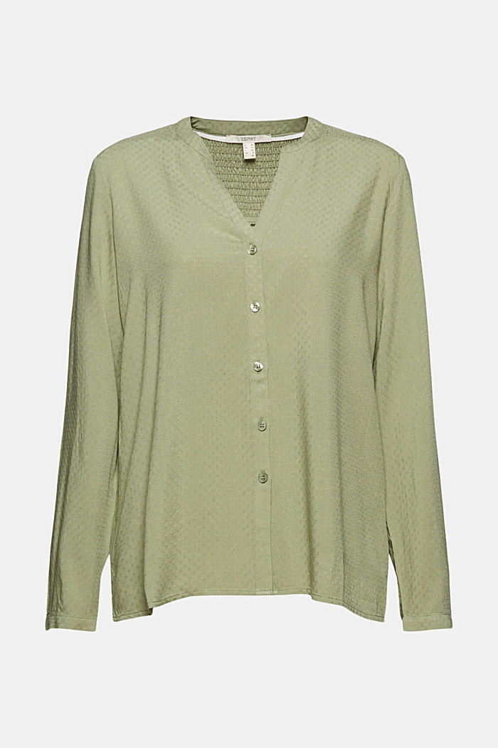 Dainty smocked blouse made of LENZING™ ECOVERO™, LIGHT KHAKI, detail image number 7