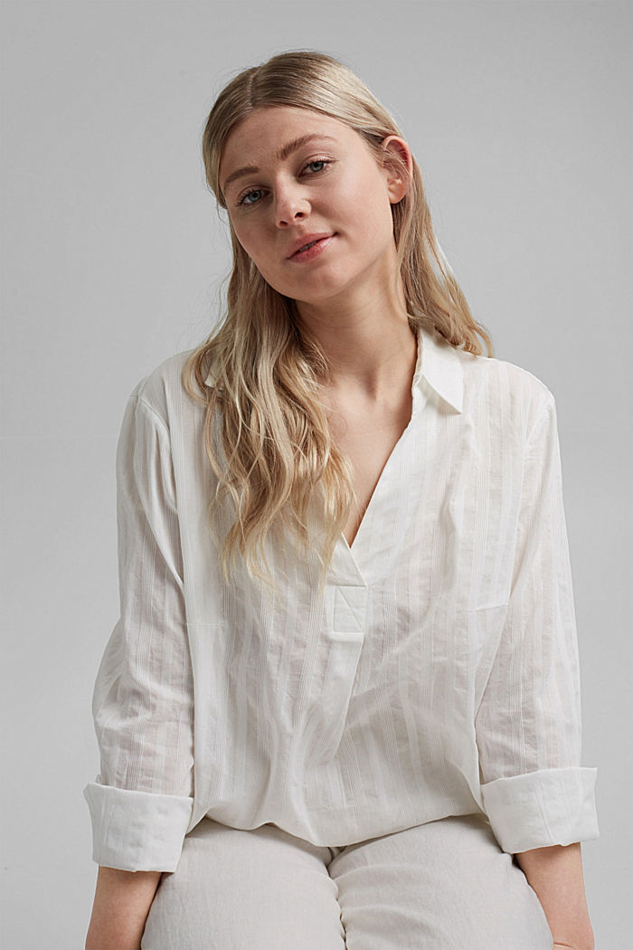 Textured blouse made of 100% organic cotton, OFF WHITE, detail image number 0