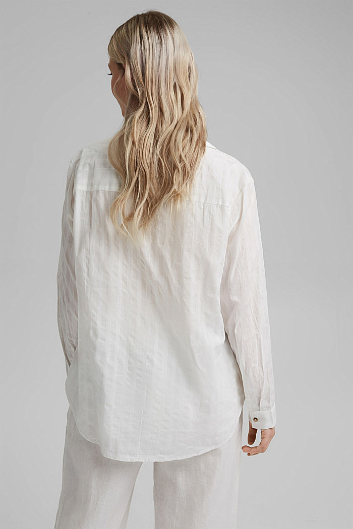 Textured blouse made of 100% organic cotton, OFF WHITE, detail image number 3