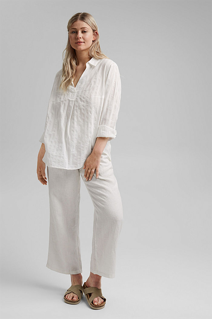 Textured blouse made of 100% organic cotton, OFF WHITE, detail image number 1