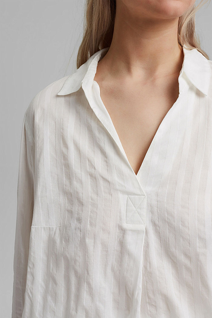Textured blouse made of 100% organic cotton, OFF WHITE, detail image number 2