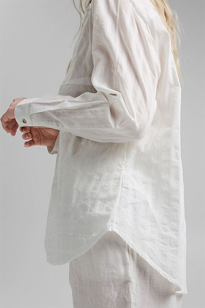 Textured blouse made of 100% organic cotton, OFF WHITE, detail image number 5
