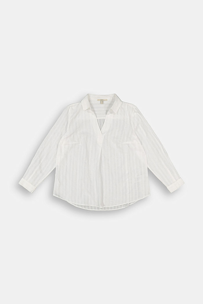 Textured blouse made of 100% organic cotton, OFF WHITE, detail image number 6