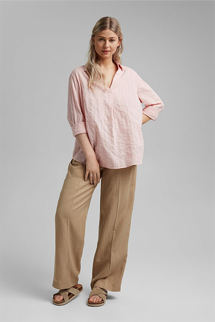 Textured blouse made of 100% organic cotton, NUDE, detail image number 1
