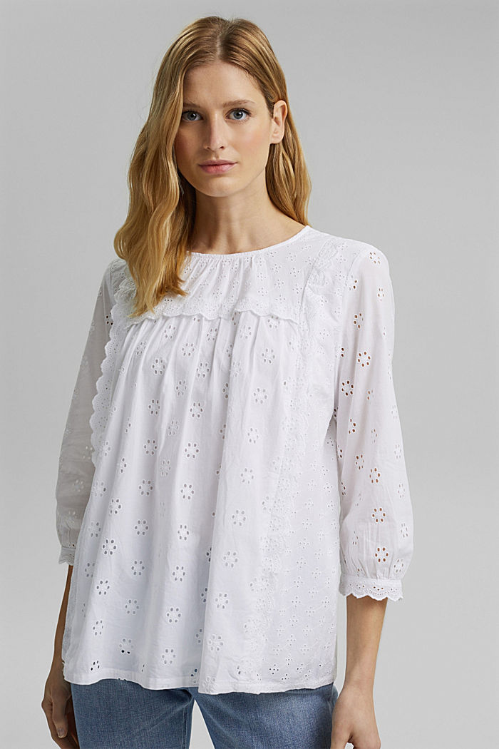 Broderie anglaise blouse, 100% organic cotton, WHITE, detail image number 0