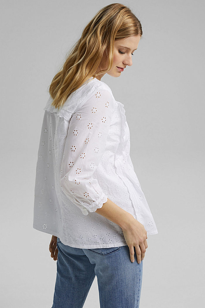 Broderie anglaise blouse, 100% organic cotton, WHITE, detail image number 3