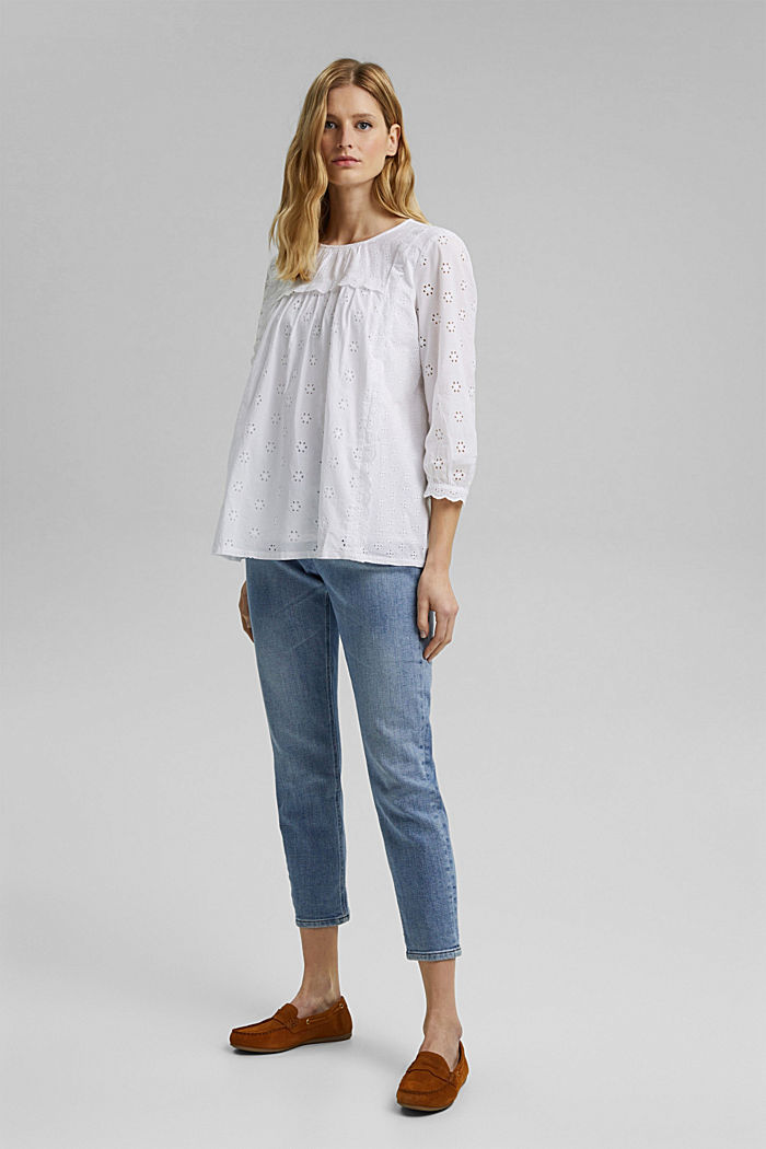 Broderie anglaise blouse, 100% organic cotton, WHITE, detail image number 1
