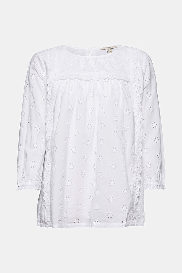 Broderie anglaise blouse, 100% organic cotton, WHITE, detail image number 6