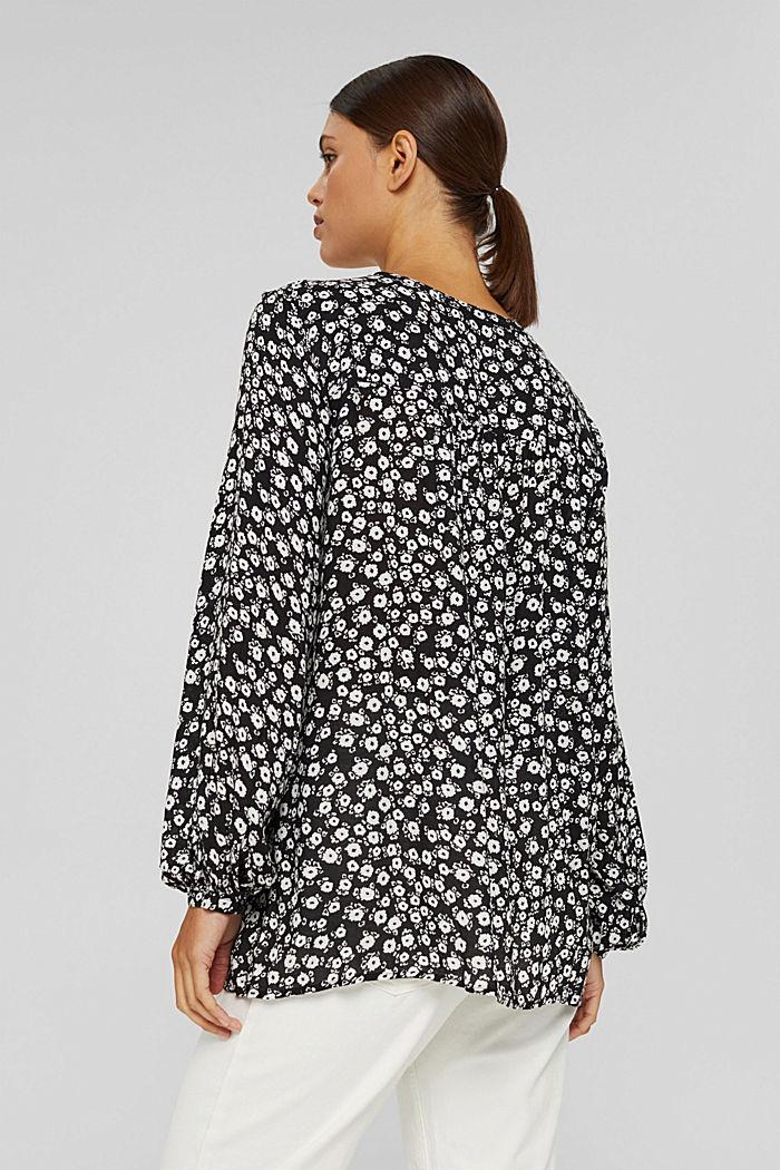 Let løstsiddende bluse med blomsterprint, BLACK, detail image number 3