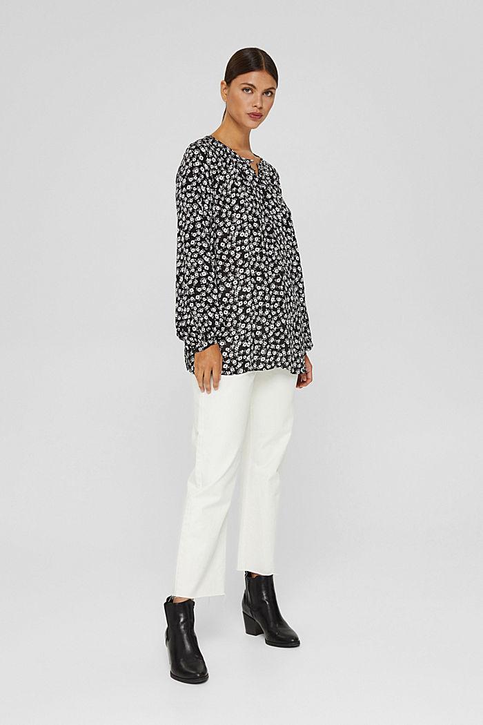 Let løstsiddende bluse med blomsterprint, BLACK, detail image number 1