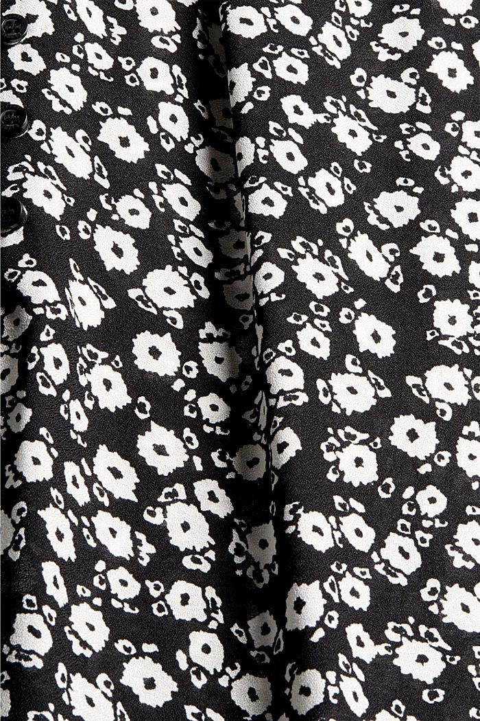 Let løstsiddende bluse med blomsterprint, BLACK, detail image number 4