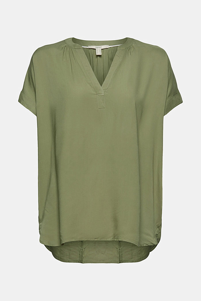 Blouse made of LENZING™ ECOVERO™ viscose, LIGHT KHAKI, overview