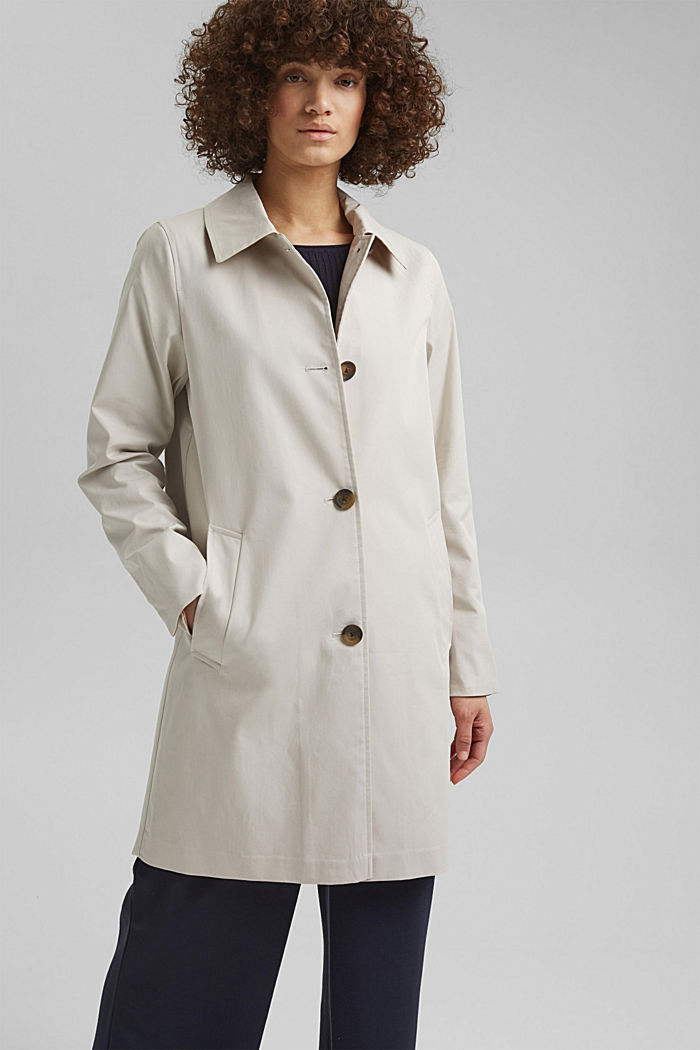 Straight-cut cotton coat, CREAM BEIGE, detail image number 0