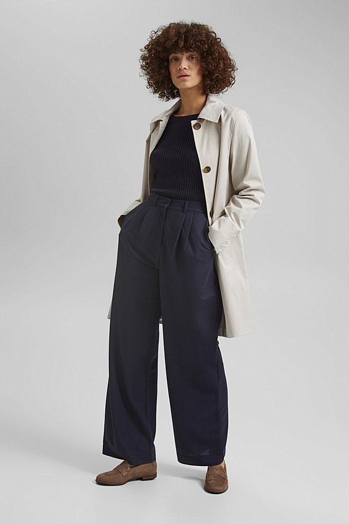 Straight-cut cotton coat, CREAM BEIGE, detail image number 1