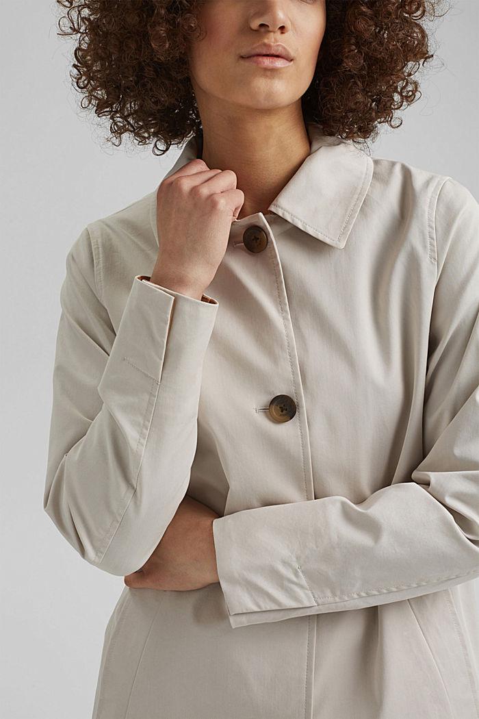 Straight-cut cotton coat, CREAM BEIGE, detail image number 2