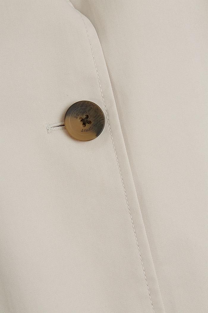 Straight-cut cotton coat, CREAM BEIGE, detail image number 4