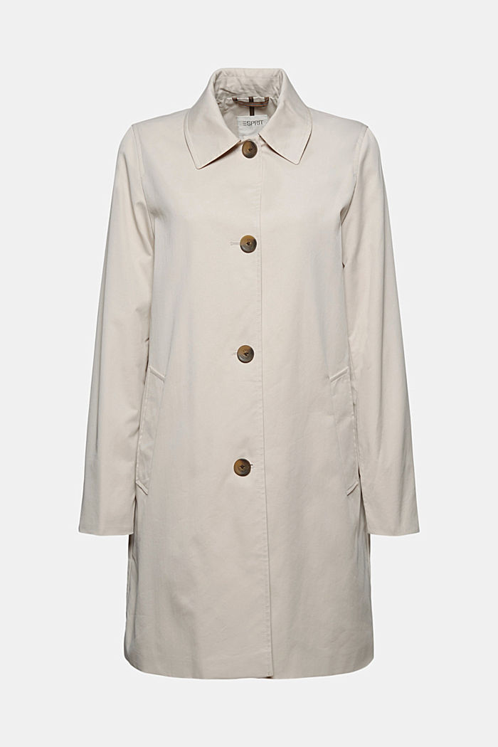 Straight-cut cotton coat, CREAM BEIGE, detail image number 5
