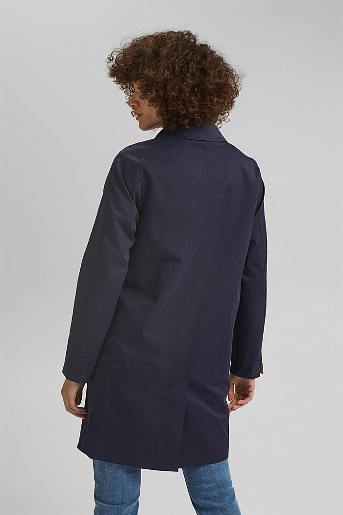 Straight-cut cotton coat, NAVY, detail image number 3