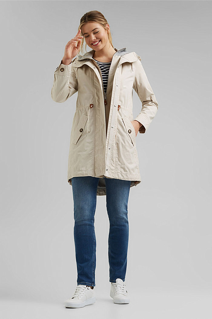 Short parka with organic cotton, CREAM BEIGE, detail image number 1