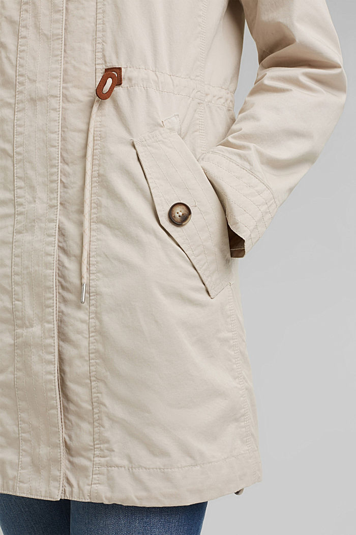 Short parka with organic cotton, CREAM BEIGE, detail image number 2