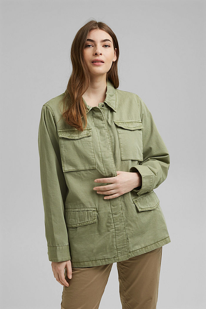 CURVY utility-style jacket, LIGHT KHAKI, overview