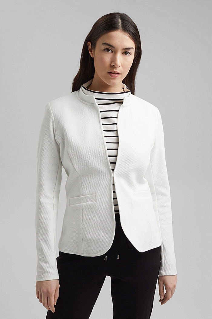 Textured jersey blazer, made of organic cotton, OFF WHITE, detail image number 0