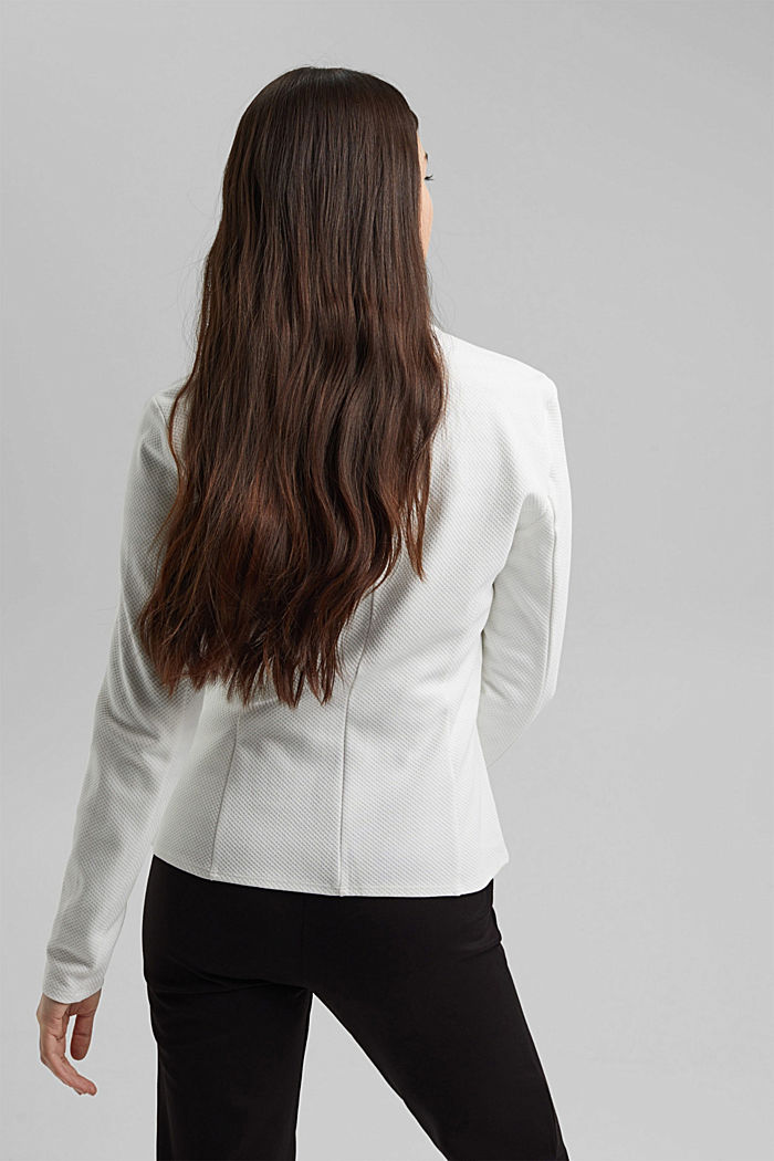 Textured jersey blazer, made of organic cotton, OFF WHITE, detail image number 3
