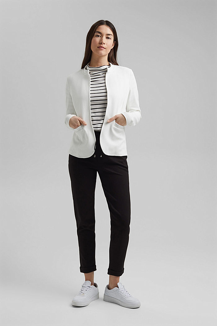 Textured jersey blazer, made of organic cotton, OFF WHITE, detail image number 1