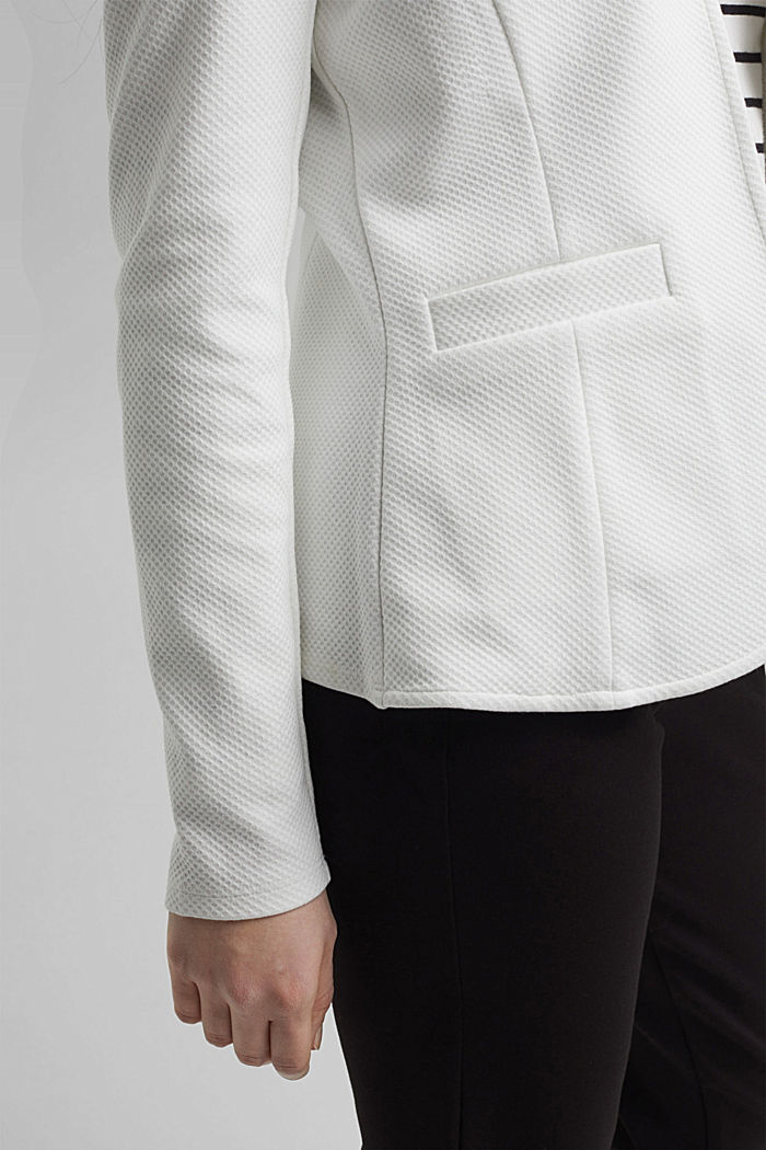 Textured jersey blazer, made of organic cotton, OFF WHITE, detail image number 2