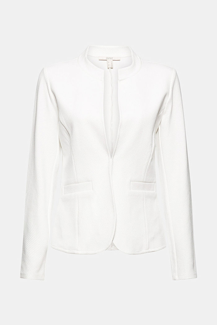 Textured jersey blazer, made of organic cotton, OFF WHITE, detail image number 5