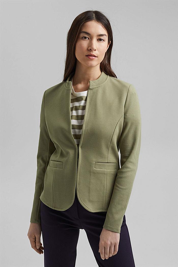 Textured jersey blazer, made of organic cotton, LIGHT KHAKI, detail image number 0