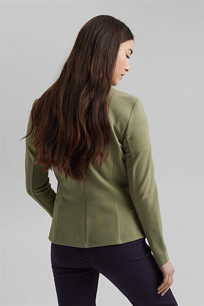 Textured jersey blazer, made of organic cotton, LIGHT KHAKI, detail image number 3
