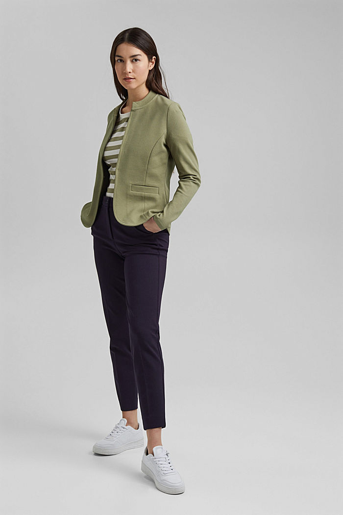 Textured jersey blazer, made of organic cotton