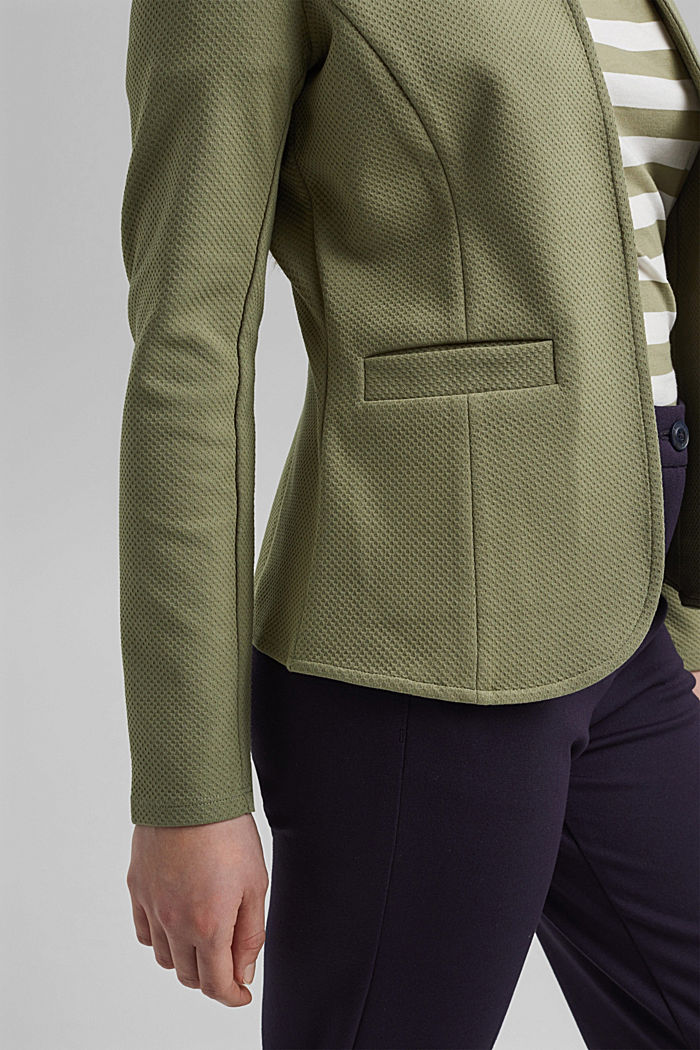 Blazer strutturato in jersey, cotone biologico, LIGHT KHAKI, detail image number 2
