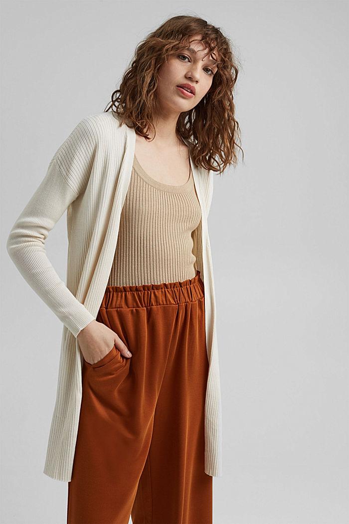 Rib knit cardigan made of 100% organic cotton, OFF WHITE, detail image number 0