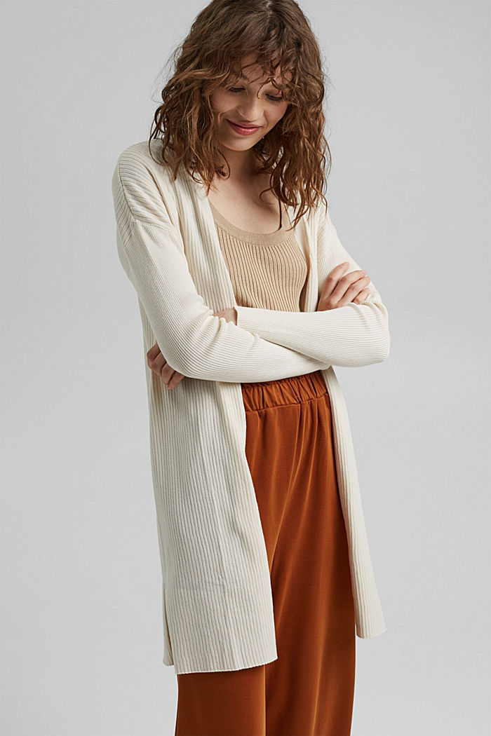 Rib knit cardigan made of 100% organic cotton, OFF WHITE, detail image number 5