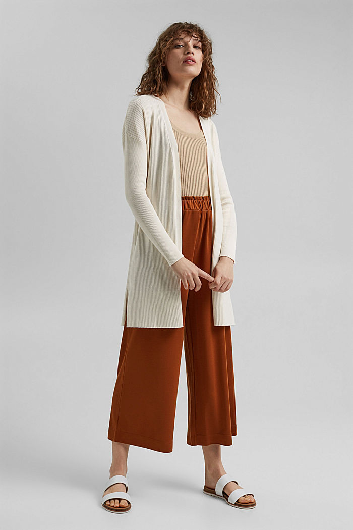 Rib knit cardigan made of 100% organic cotton, OFF WHITE, detail image number 1